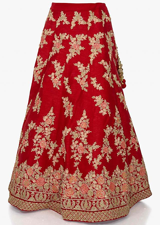 Red lehenga in raw silk adorn in resham zari work with 3D fancy flowers only on Kalki