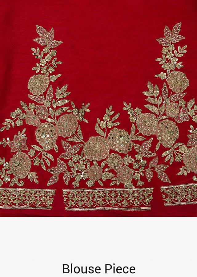Red lehenga in raw silk adorn with zari and moti work only on Kalki