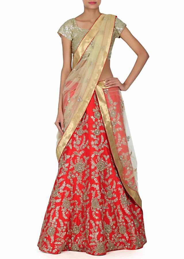 Red lehenga with zardosi embroidered kali only on Kalki