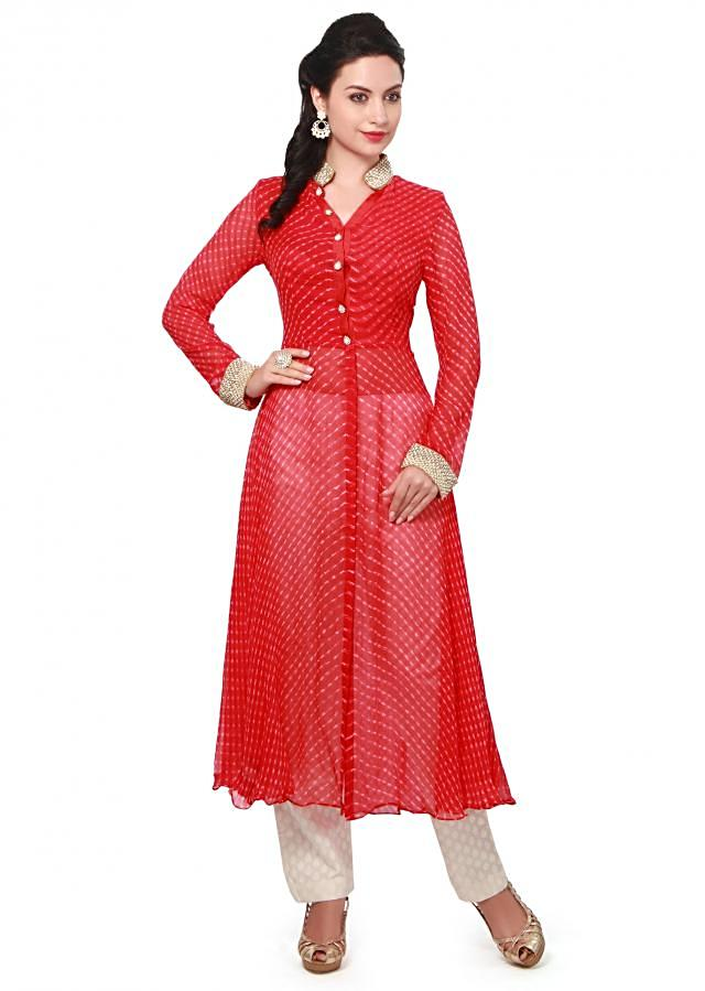 Red leheriya suit embellished in pearl and stone embroidery only on Kalki