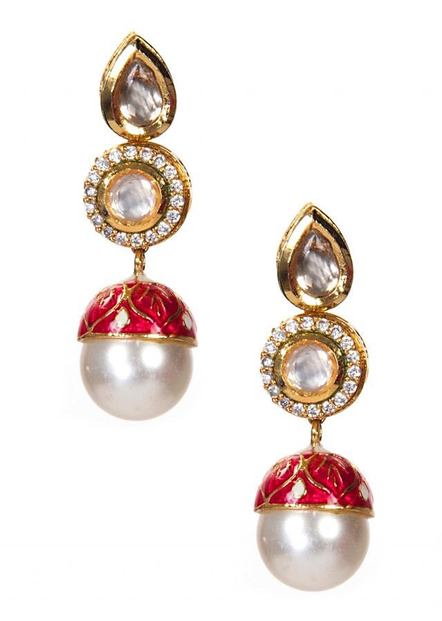 Red Meenakari Detailed Earrings With Studded Diamonds only on Kalki