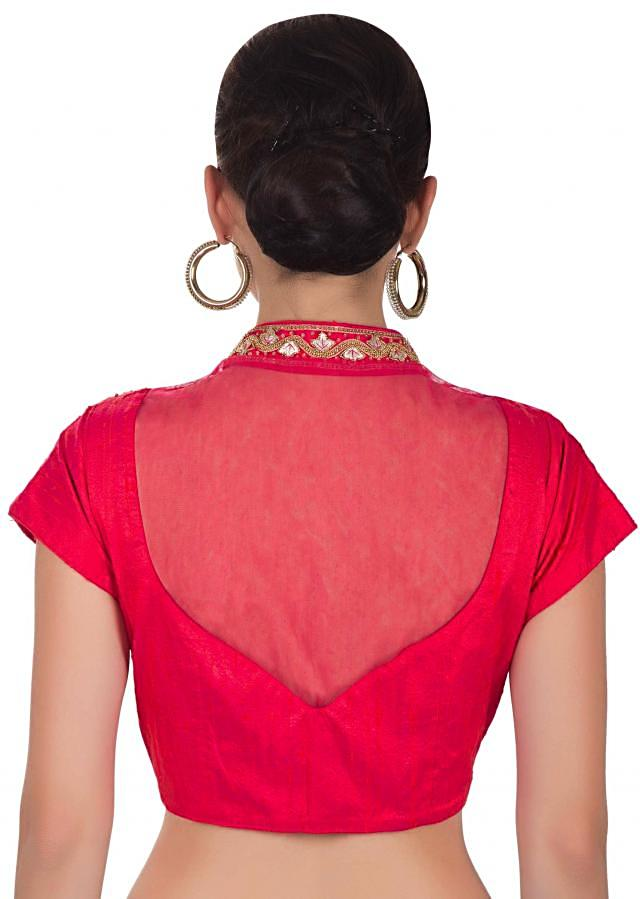 Red Orange blouse in raw silk blouse featuring zari work only on Kalki