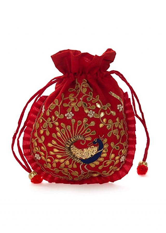 Red potli bag beautified in gotta patti embroidered work only on Kalki