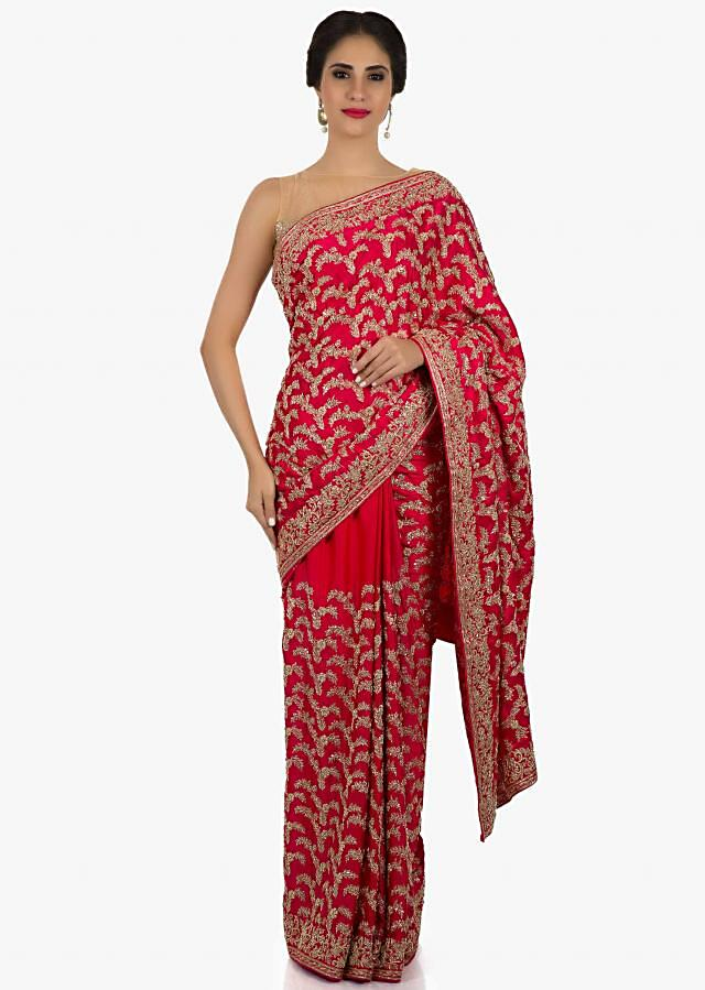 Red saree in Satin featuring the zardosi work only on Kalki