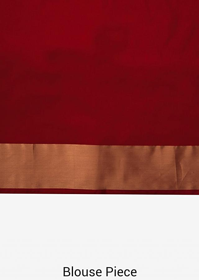 Red Saree In Silk Beautified In Weaved Embroidery Online - Kalki Fashion