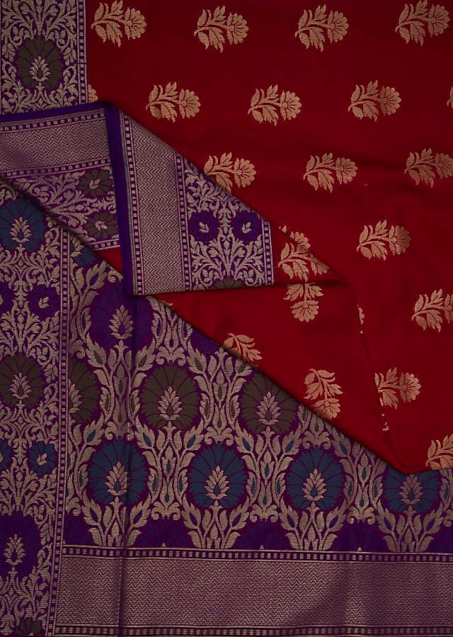 Red saree in silk with brocade pallav in jaal motif only on Kalki