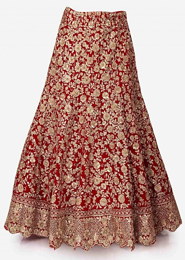 Red semi-stitched lehenga in velvet featuring the heavy zardosi and sequin work only on Kalki