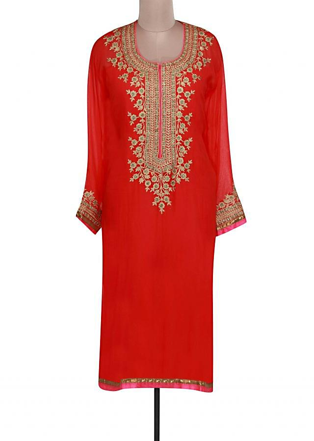 Red semi stitched suit adore in zari embroidery only on Kalki