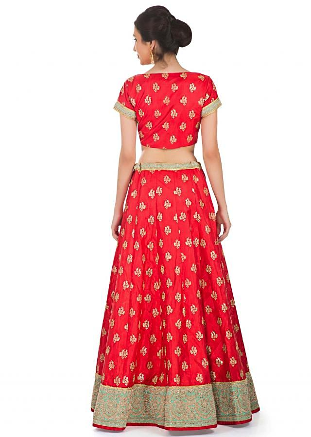 Red Silk Blouse Lehenga and Sky Blue Net Dupatta Featuring Sequin Butti only on Kalki