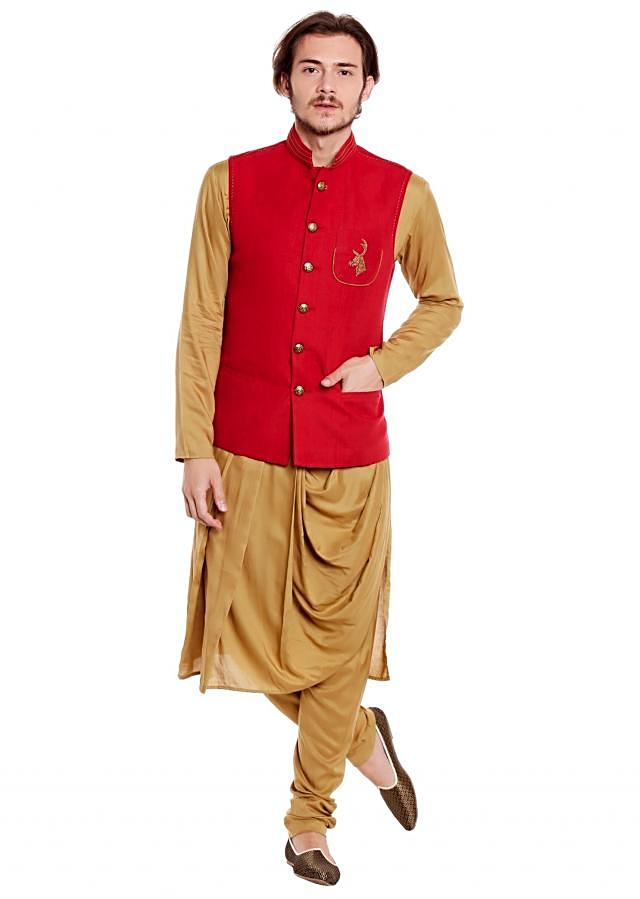 Red waist coat in zardosi embroidered butti with beige kurta set only on Kalki