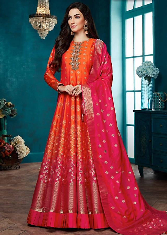 Reddish Orange And Rani Pink Ombre Anarkali Suit With Banarasi Dupatta Online - Kalki Fashion