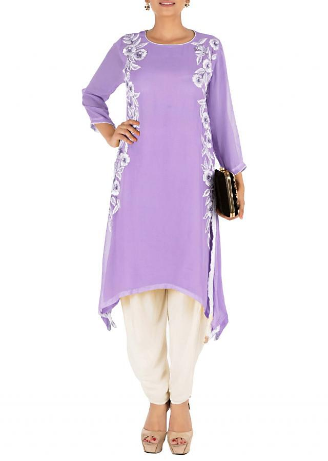 Resham Embroidered Pretty Purple Suit Set