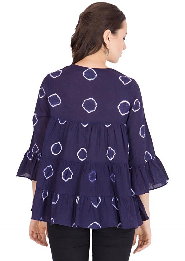 Revel in summer heat with this indigo white top in sheer cotton