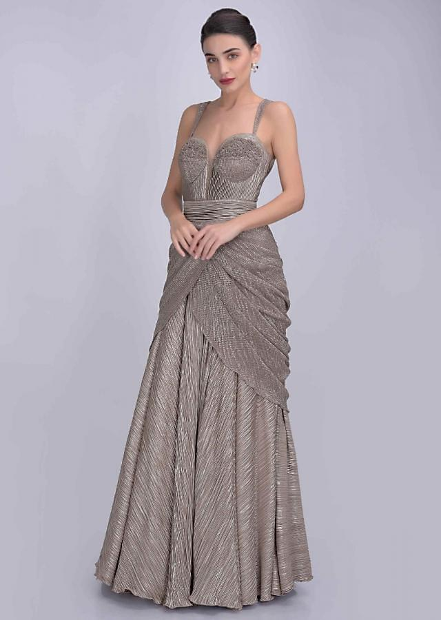 Rhino Brown Gown In Pleated Shimmer Lycra Online - Kalki Fashion