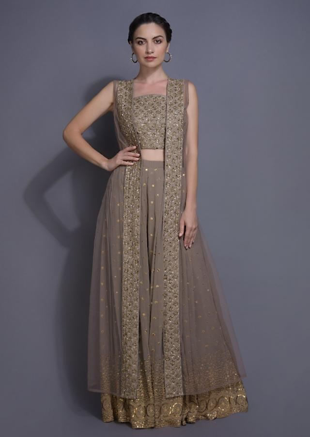 Rhino Grey Lehenga And Crop Top With Embroidered Buttis And Ruffle Dupatta Online - Kalki Fashion