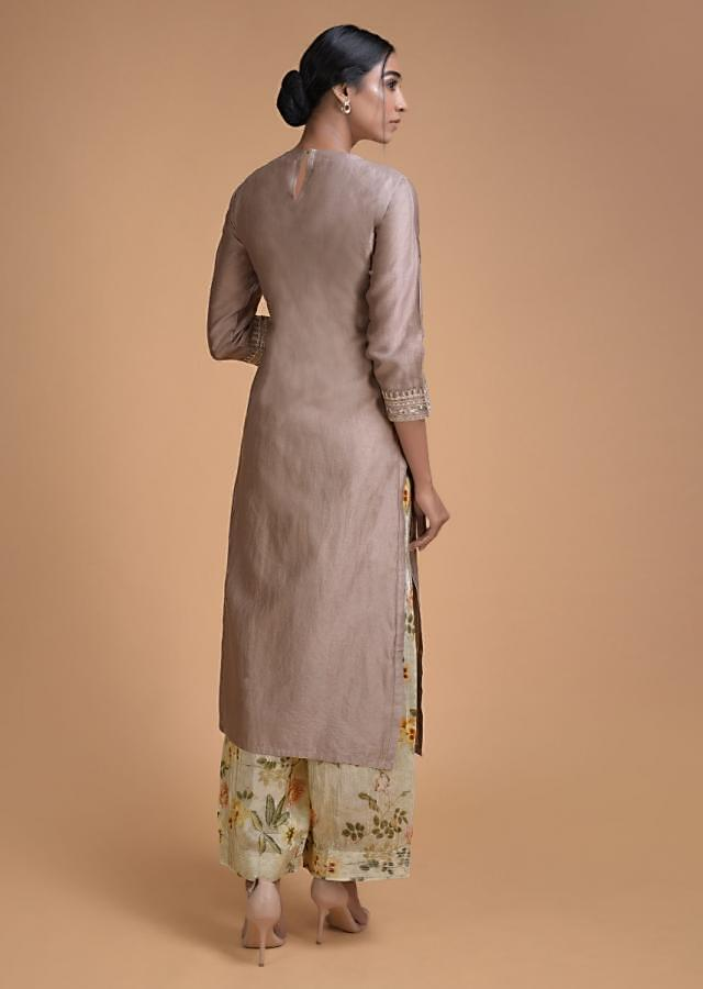 Rhino Grey Straight Cut Suit With Embroidered Bodice And Floral Printed Bottoms Online - Kalki Fashion