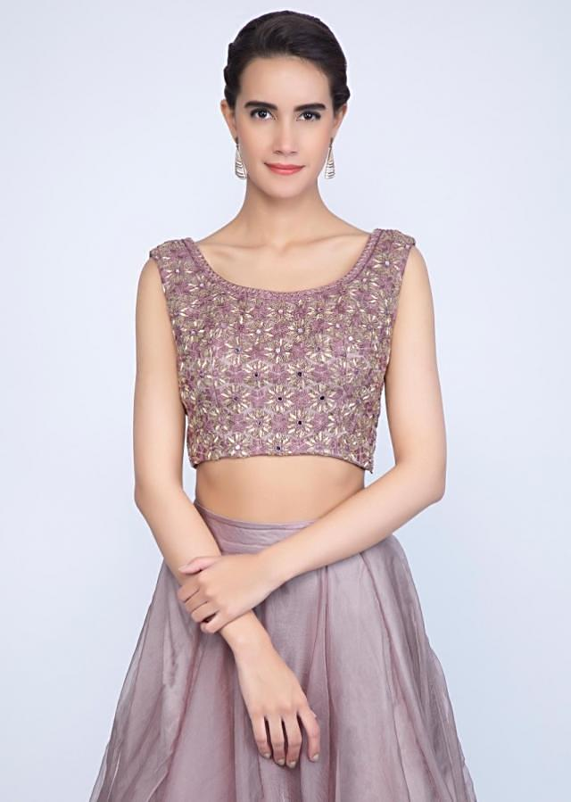 Rich mauve organza lehenga with embroidered blouse and ruffled dupatta only on Kalki