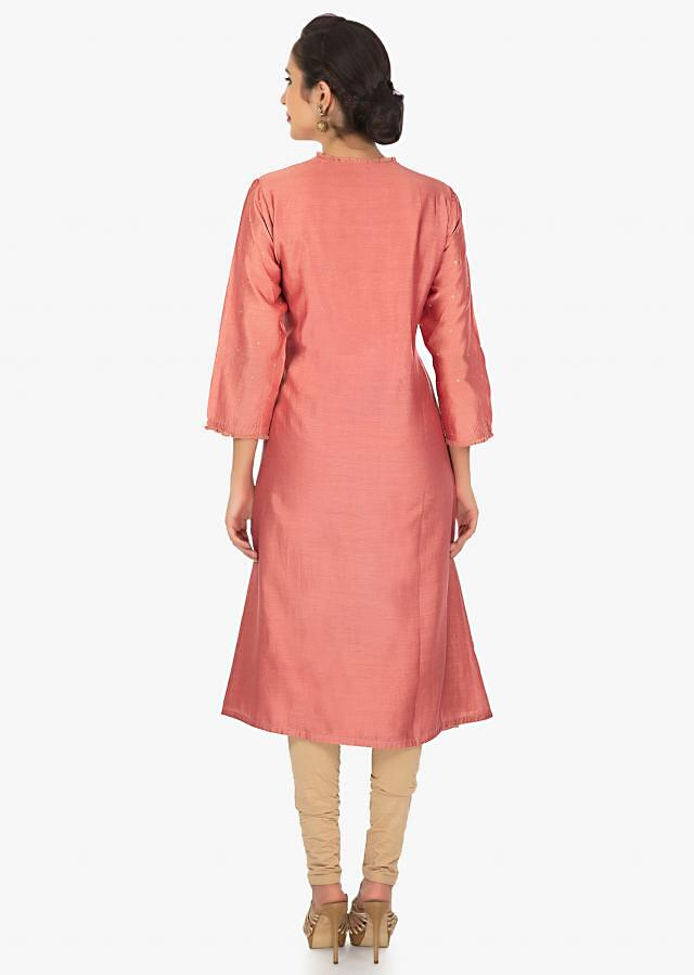 Rose peach A line kurti with  a light brown dupatta only on Kalki