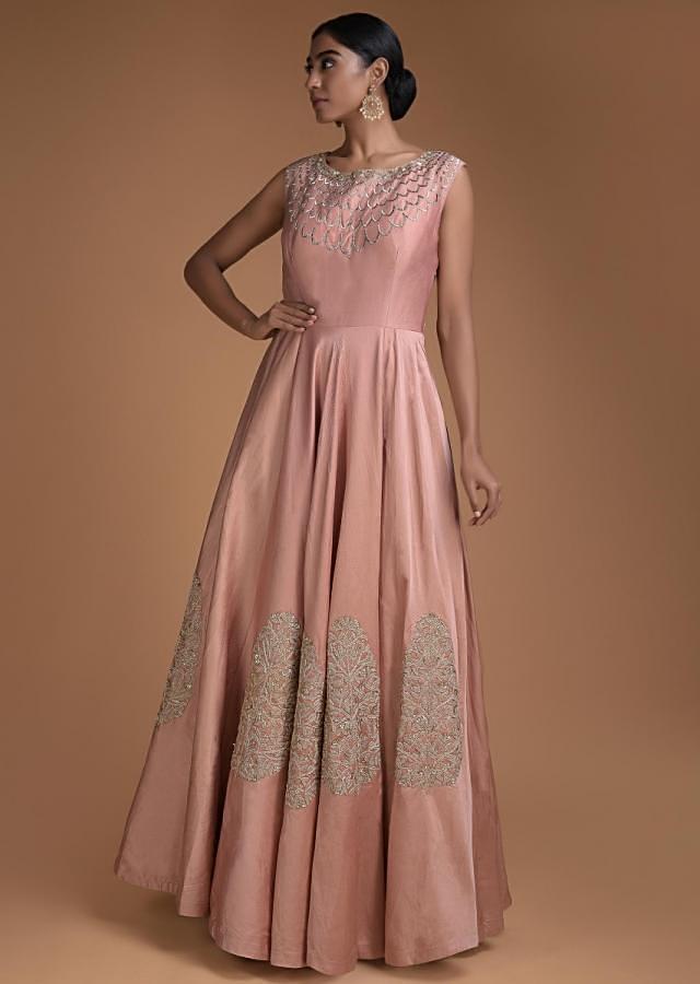 Rose Peach Anarkali Suit With Cut Dana And Zari Embroidery In Scallop And Leaf Motifs Online - Kalki Fashion