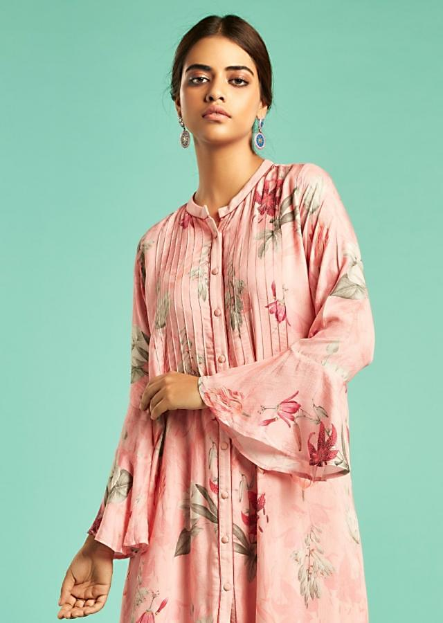 Rose Pink A Line Suit With Floral Print And Bell Sleeves