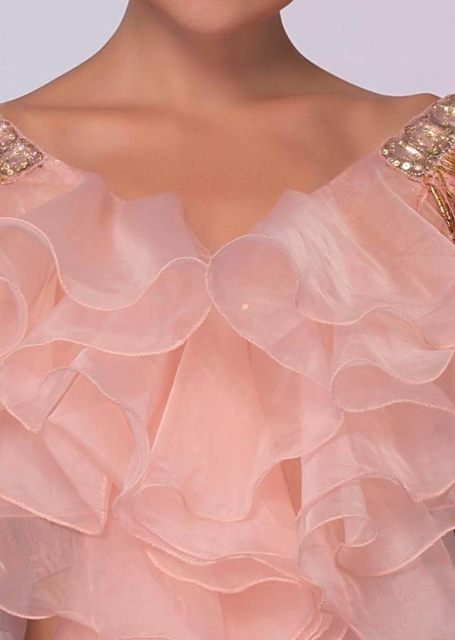 Rose Pink Lehenga In Chantilly Lace Styled With Ruffled Organza Blouse Online - Kalki Fashion