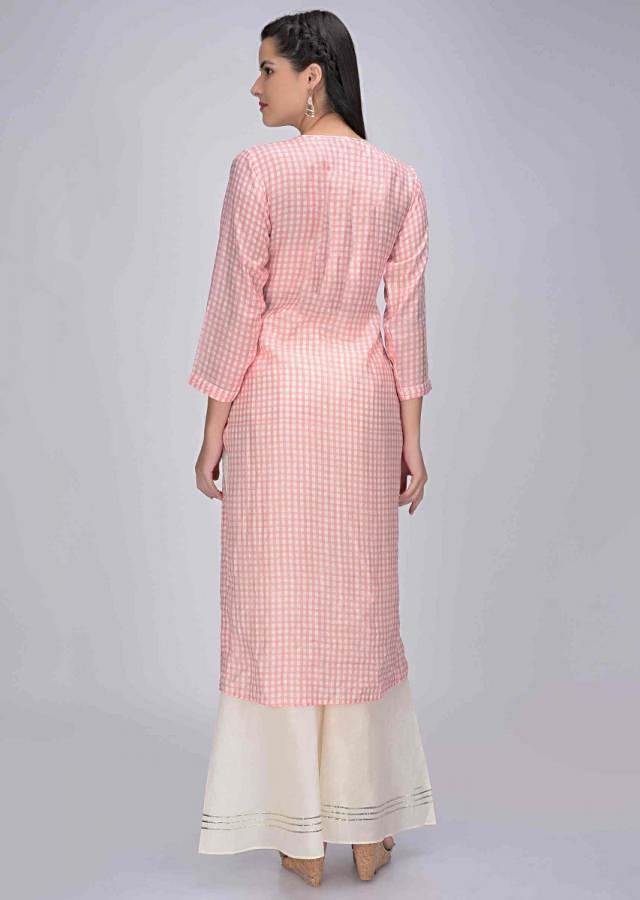 Rose Pink Kurti In Cotton With Checks Print Online - Kalki Fashion