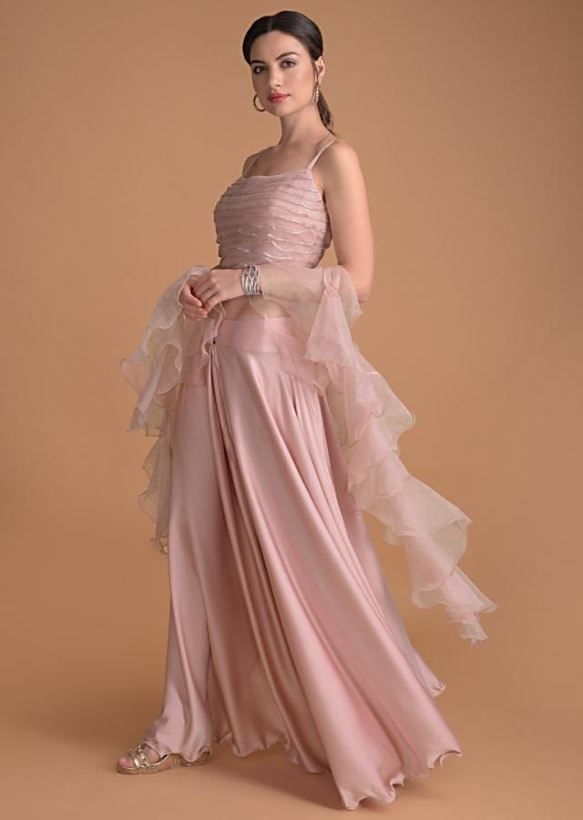 Rose Pink Flared Palazzo And Crop Top With Ruffle Dupatta And Kundan Work Online - Kalki Fashion