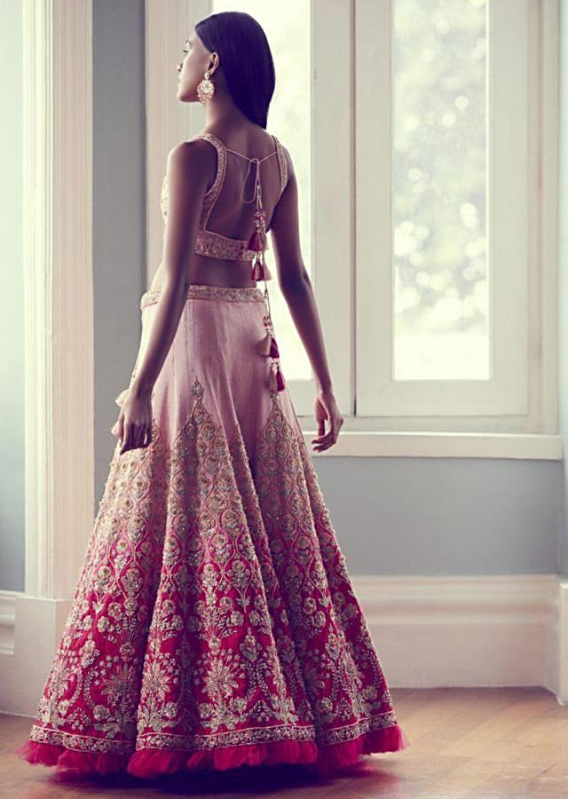 Rose Pink Lehenga Choli In Ombre Shaded Raw Silk Handcrafted With Traditional Floral Embroidery Online - Kalki Fashion
