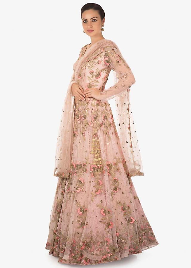 Rose Pink Net and Raw Silk jacket lehenga Studded with Resham and Zardosi Only on Kalki