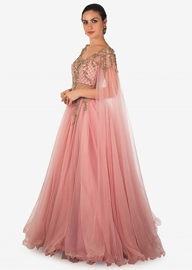 Rose Pink Net Gown Studded with Zardosi Work Only on Kalki