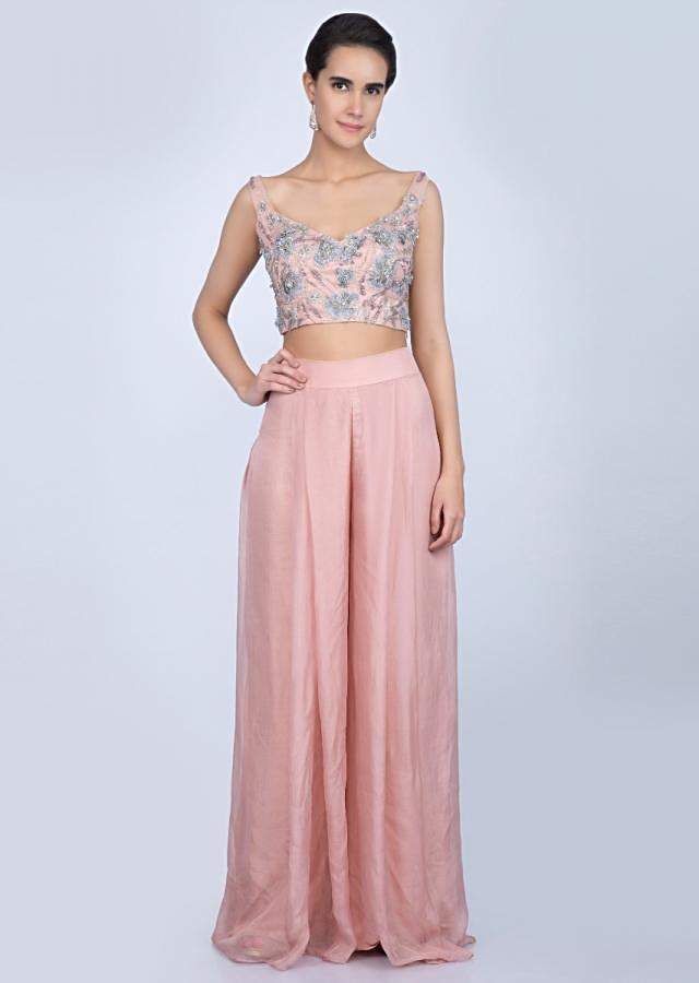 Rose Pink Palazzo And Crop Top With Heavy Embellished Jacket Online - Kalki Fashion
