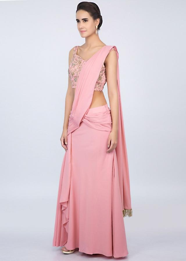 Rose Pink Ready Pleated Saree With Matching Embroidered Blouse Online - Kalki Fashion