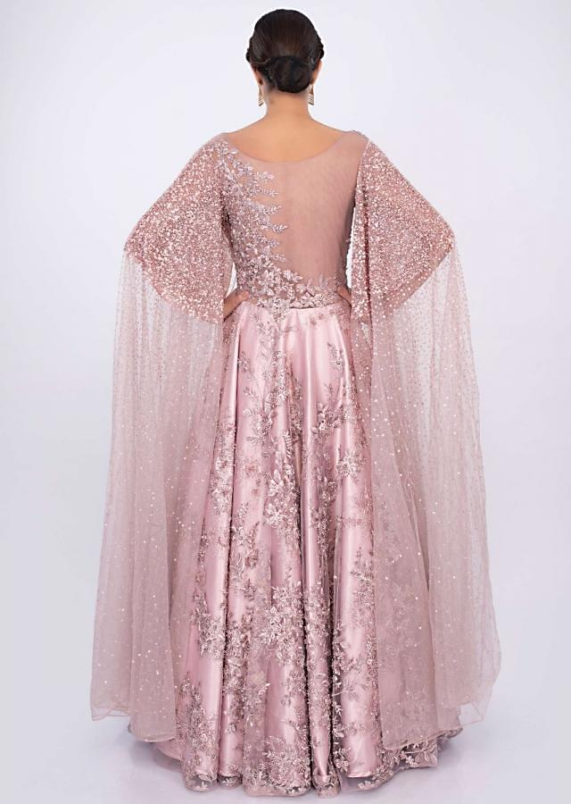 Rose pink reception gown in heavy embroidery only on kalki