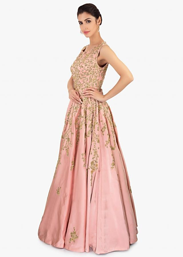 Rose Pink Satin Gown With Embroidered Jaal And Butti Online - Kalki Fashion
