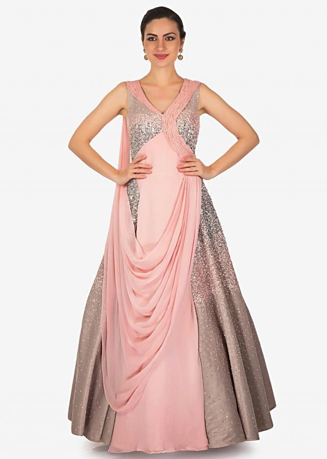 Rose Pink Textured Satin and Georgette Sequined Gown with Drape Only on Kalki