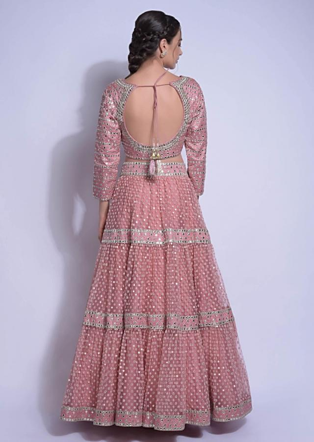Rose Pink Tiered Lehenga Set In Net With Abla Embroidery Online - Kalki Fashion