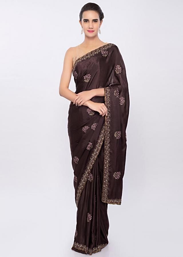 Rose wood brown chiffon saree with embroidery and butti only on Kalki