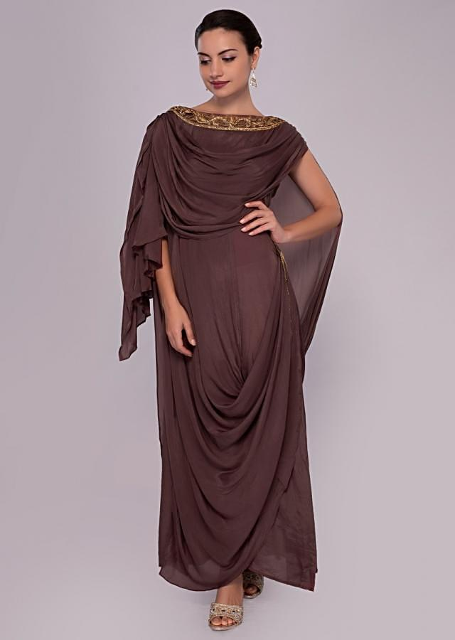 Rose Wood Tunic Dress With Multiple Cowl Drape Online - Kalki Fashion