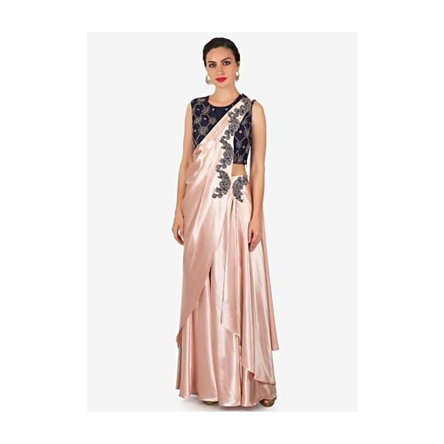 Rose gold lehenga saree with navy blue blouse in zardosi and cut dana embroidery only on Kalki