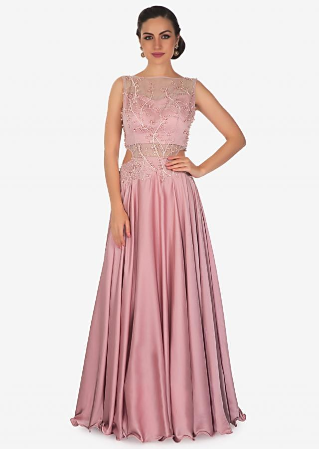 Rose pink gown in satin with moti embroidered bodice only on Kalki