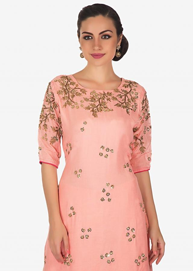 Rose pink straight palazzo suit in cotton with cut dana and sequin embroidery only on Kalki