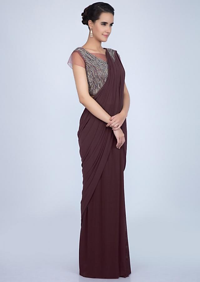Rosewood Brown Saree In Lycra Net With Ready Pleats And Draped Pallu Online - Kalki Fashion