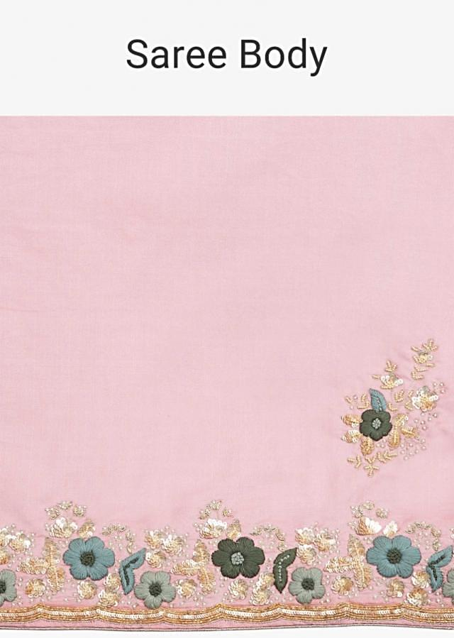 Rosewood pink cotton silk saree in hand embroidered butti and border only on Kalki