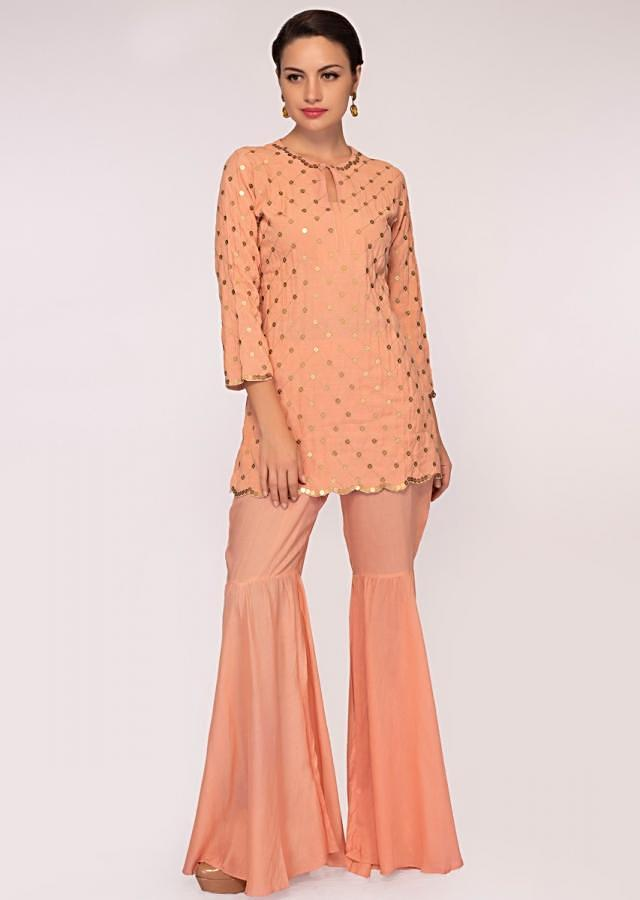 Rouge Pink Cotton Suit Paired With Matching Sharara Online - Kalki Fashion