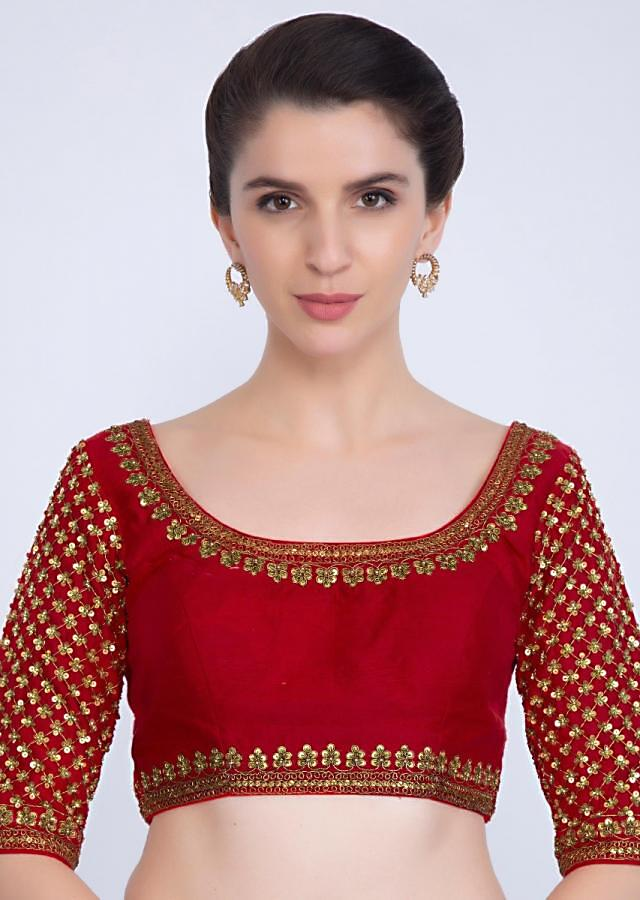 Round neck red raw silk blouse with jaal embroidered sleeves only on kalki