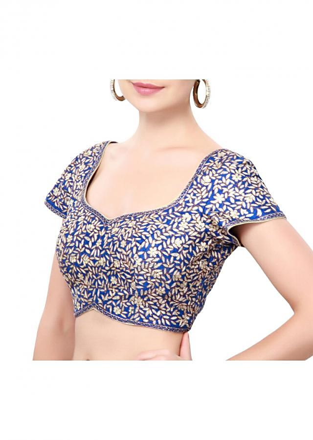 Royal blue adorn in zari embroidery only on Kalki
