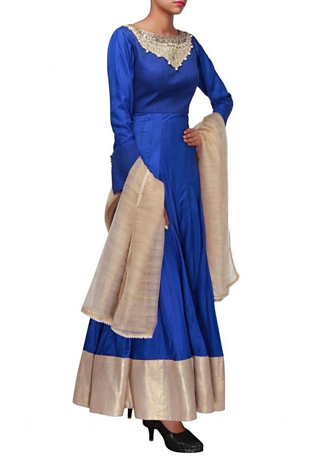Royal blue anarkali suit adorn in pearl and kundan embroidery only on Kalki