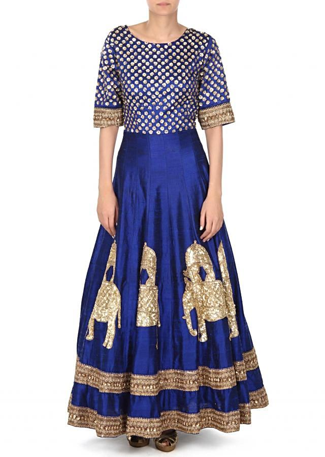 Royal blue anarkali suit adorn in sequin embroidery only on Kalki