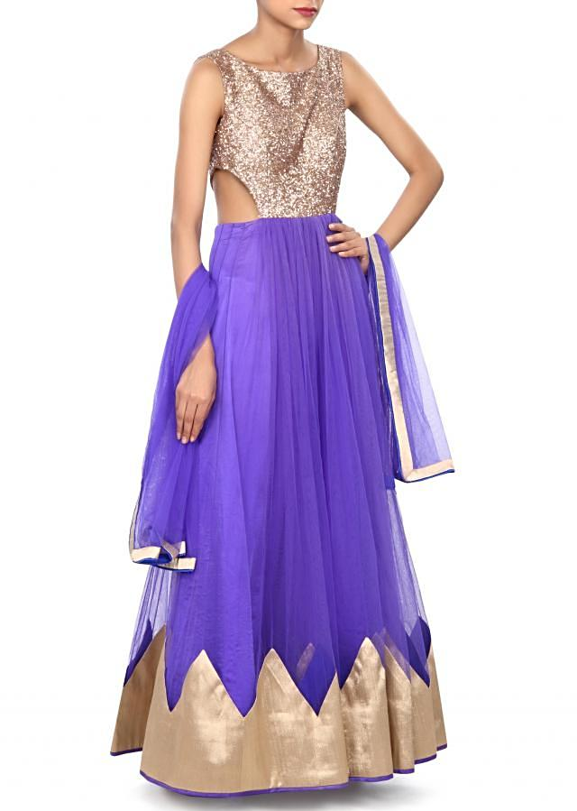 Royal blue anarkali suit enhanced in sequin embroidery only on Kalki