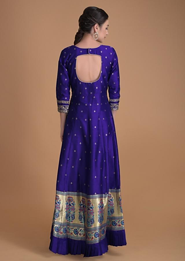 Royal Blue Anarkali Suit With Embroidered Heritage Motif And Weaved Buttis And Hemline Online - Kalki Fashion
